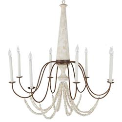 Jamaica French Country Rustic Iron Beige Resin Candle Style Chandelier