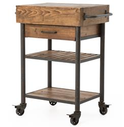 Kershaw Rustic Chunky Reclaimed Wood Iron Single Drawer Kitchen Island Cart | Kathy Kuo Home
