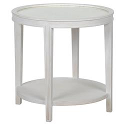 Noir Imperial French Country White Washed Antique Mirror Side Table