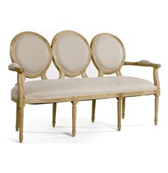 French Country Louis XVI Oval Back Linen Medallion Dining Bench | B009-3 E255 A003