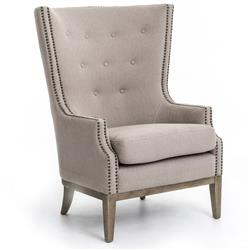 Kendall Hollywood Regency Taupe Grey Chevron Linen Wing Chair