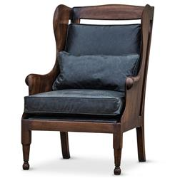 Normandy Solid Carved Walnut Wood Black Leather Wing Chair