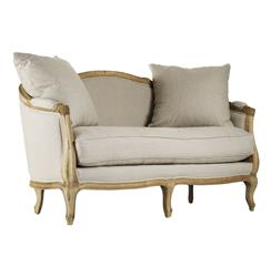 Rue du Bac French Country Natural Linen Feather Settee Loveseat | Kathy Kuo Home