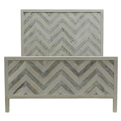 Seaton Coastal Beach White Washed Wood Classic Chevron Bed - Queen