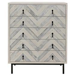Seaton Coastal White Washed Wood Steel Base 5 Drawer Chevron Tall Dresser
