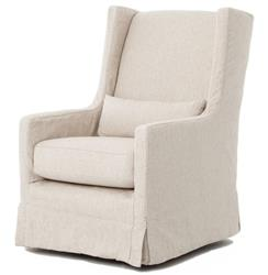Wilshire Modern Classic Slipcover Cream Linen Swivel Arm Chair