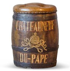 Chateauneuf du Pape Vintage Style Wine Barrel Leather Ottoman