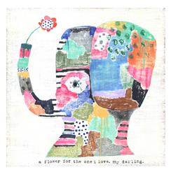 Elephant A Flower For the One I Love Wood Art Print - 12x12