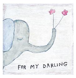 Elephant Holding Flowers For My Darling Wood Art Print - 12x12