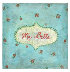 Ma Belle Turquoise Red Painted Vintage Wall Art - 12 Inch