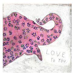 Pink Elephant Reclaimed Wood 'I Love You' Wall Art - 12 Inch