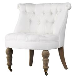 Amelie French White Linen Tufted Occasional Chair