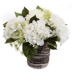 Faux White Hydrangea Flowers Queen Anne's Lace Foliage in Grey Rope Vase