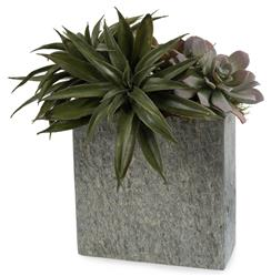 John-Richard Faux Green Succulent Plants in Natural Grey Slate Rectangular Vase