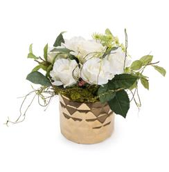Faux White Rose Flowers Queen Anne's Lace Vine Foliage in Gold Diamond Vase