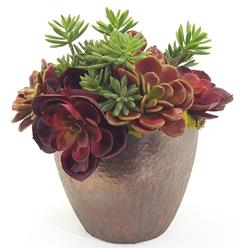 Faux Red Green Succulent Plants in Bronze Glaze Pot
