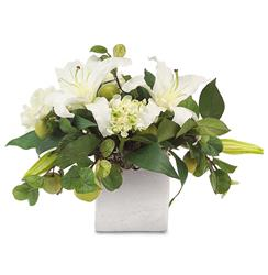 Faux White Lily Hydrangea Peony Flowers Green Apples in Silver Cube Vase