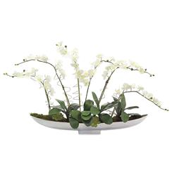 Faux White Orchid Flowers Leaves Wire Circles in Chrome Canoe Bowl