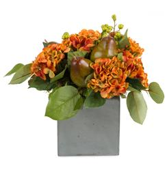 Faux Hydrangea Flowers Pears Salal Leaves in Cement Cube Vase