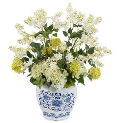 Faux Snowball Lilac Hydrangea Flowers in Asian Blue White Vase