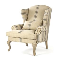 Zacharie Khaki Linen English Wing Chair with Blue Stripe | Kathy Kuo Home