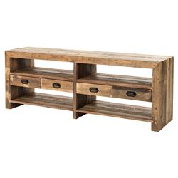 Winkler Rustic Lodge Black Iron Handles Reclaimed Wood Media Console