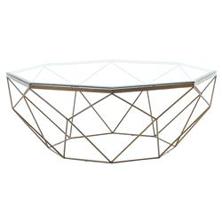 Dixon Geometric Modern Antique Brass Octagonal Round Coffee Table