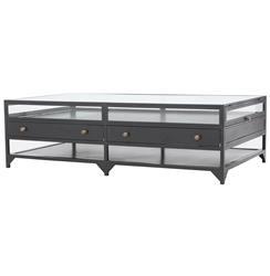 Viktor Industrial Loft Shadowbox Iron 4 Drawer Coffee Table
