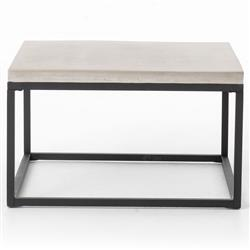Kevin Industrial Grey Concrete Black Iron Base Outdoor Square Coffee Table