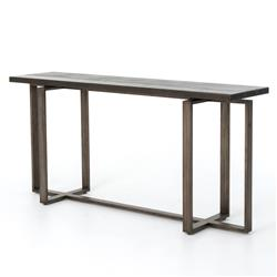 Jared Galvanized Iron Dark Grey Oak Geometric Console Table