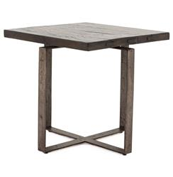 Jared Galvanized Iron Dark Grey Oak Geometric Side End Table