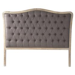 Lille French Country Brown Linen Button Tufted Limed Oak Headboard - Queen