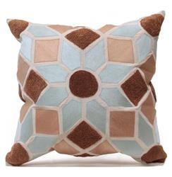 Deniz Moroccan Style Embroidered Taupe Grey Pillow - 24x24