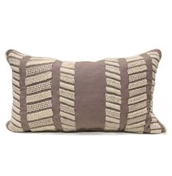 Harper Coastal Beach Style White Knit Taupe Pillow - 14x24