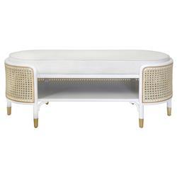 Beacon Coastal White Oak Wood Natural Cane White Upholstered Seat Storage Bench