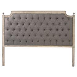 Louis French Country Brown Linen Button Tufted Limed Oak Headboard - Queen