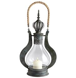 Turkish Crown Finial Global Bazaar Bronze Candle Lantern - 24 Inch