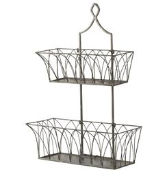 French Country Rectangular Metal 2 Tier Garden Wall Basket - Pair