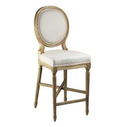 French Country Medallion Back Light Linen Counter Stool | FC011-35 COUNTER E255 A003