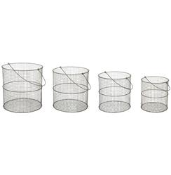 Graves Industrial Round Farmhouse Wire Baskets with Handles - Set of 4 | AG-G144-SET