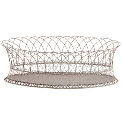 Harvest Rusted Wire White Oval Planter Baskets- Pair