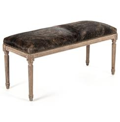 Lille French Country Louis XVI Brindle Hair on Hide Oak Bench