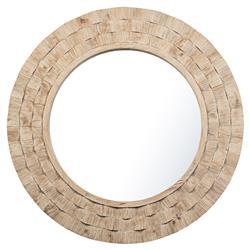 Rossa French Country Light Brown Reclaimed Pine Wood Round Accent Mirror