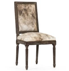 Kudro French Country Square Back Light Brindle Hair on Hide Dining Chair