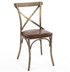 Kasson French Country Bronze Limed Grey Oak Leather Dining Side Chair