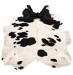 Black and White Spots Brazilian Hair on Hide Rug