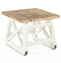 Mirabel Coastal Beach Rustic White Reclaimed Wood X Base Side End Table