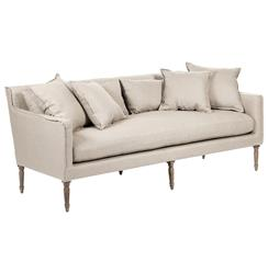 George Modern French Country Linen Grey Oak Louis Style Sofa