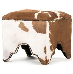 Dunia Hollywood Regency Modern Rustic Cow Hide Square Stool Ottoman
