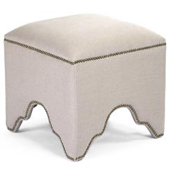 Dunia Hollywood Regency Modern Natural Linen Square Stool Ottoman